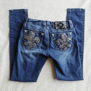 MISS ME Jeans Mid-Rise Skinny Fleur de Lis 26